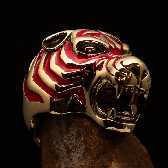 Excellent crafted Men's Animal Ring Male Tiger Red - Brass - BikeRing4u
