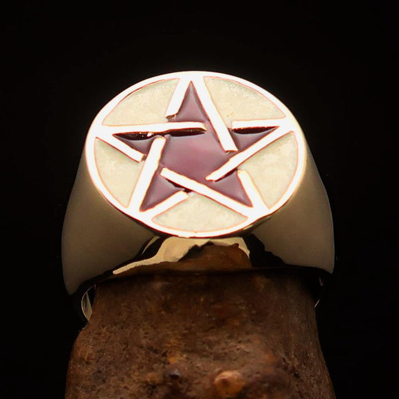 Excellent crafted Men's Pinky Ring White and Burgundy Pentagram - Solid Brass - BikeRing4u