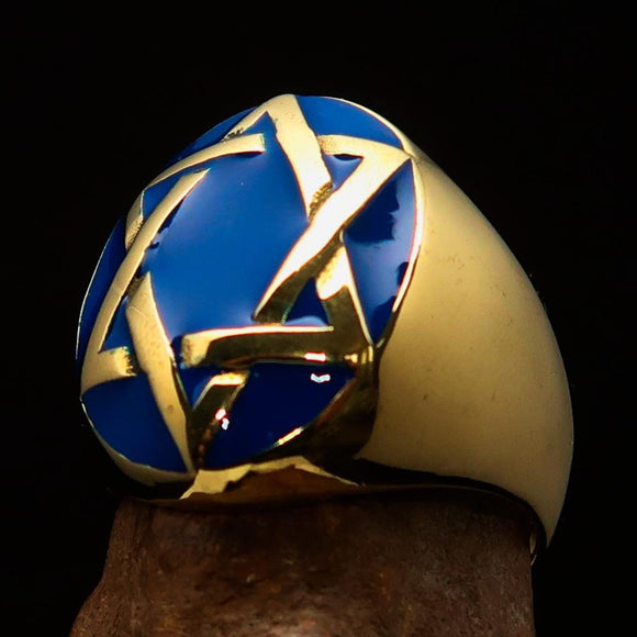 Excellent crafted Men's Hebrew Ring Blue Star of David - Solid Brass - BikeRing4u