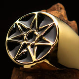 Excellent crafted Men's Heptagon Ring Black seven sided Polygon - Solid Brass - BikeRing4u