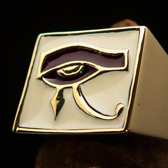 Excellent crafted Men's Ring All seeing Udjat Eye of Ra White Burgundy - Solid Brass - BikeRing4u