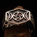 Men's Solid Brass Ring antiqued Crescent Moon Pentagram Star - BikeRing4u