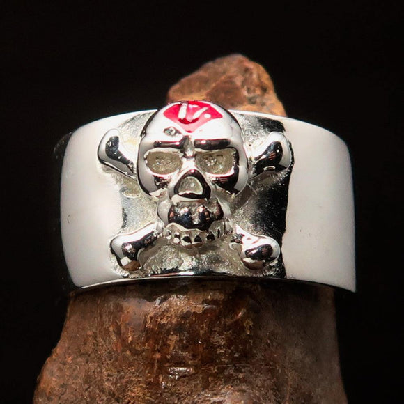 Excellent crafted Outlaw red 1% Jolly Roger Skull Band Ring - Sterling Silver