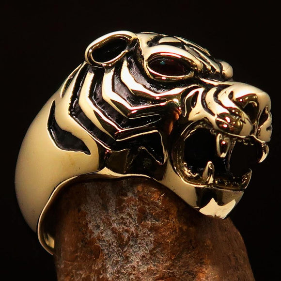 Excellent crafted Men's Predator Ring Tiger red CZ Eyes - Solid Brass - BikeRing4u