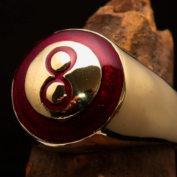 Nicely crafted domed Men's Number Ring Red 8 Eight- Solid Brass - BikeRing4u