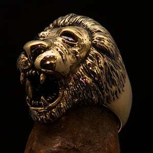 Excellent crafted Men's Animal Ring Male Lion Red CZ Eyes - Solid Brass - BikeRing4u