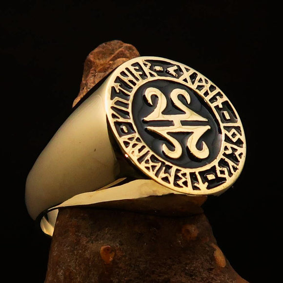 Nicely crafted Men's ancient Viking Runes Ring Black - Solid Brass