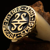 Nicely crafted Men's ancient Viking Runes Ring Black - Solid Brass - BikeRing4u
