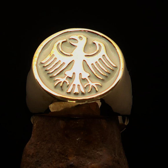 Nicely crafted Men's Seal Ring German Eagle White - Solid Brass - BikeRing4u