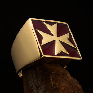 Perfectly crafted Men's Biker Ring Maltese Cross Red - Solid Brass - BikeRing4u