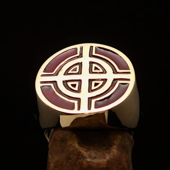 Perfectly crafted Men's Biker Ring Celtic Cross Red - Solid Brass - BikeRing4u