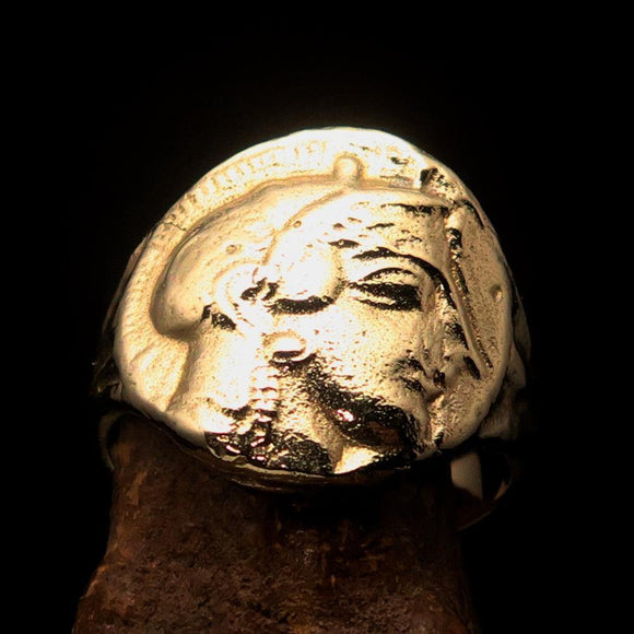 Men's Solid Brass ancient Greek Drachma Coin Ring Alexander the Great - BikeRing4u