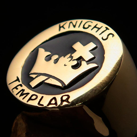 Excellent crafted Men's Black Knights Templar Ring - Solid Brass