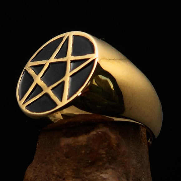 Perfectly crafted Men's Solid Line Pentagram Ring Black - Brass - BikeRing4u