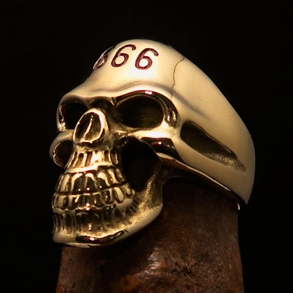 Excellent crafted Men's Devil Skull Ring red 666 on Forehead - Solid Brass - BikeRing4u