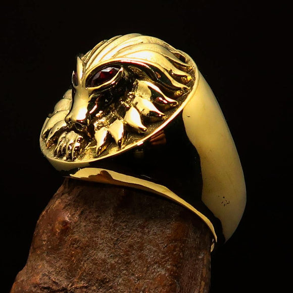 Excellent crafted solid Brass Men's Predator Ring Lion red CZ Eyes - BikeRing4u