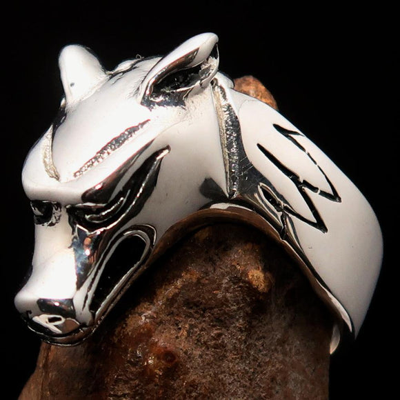 Excellent crafted Men's Jackal Ring Egyptian Anubis God of Death - Sterling Silver - BikeRing4u