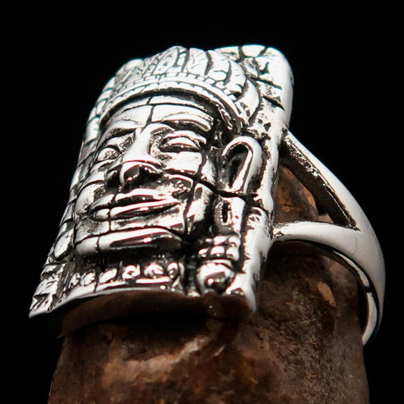 Excellent crafted Sterling Silver Buddha Men's Ring ancient Bayon Angkor Wat - BikeRing4u
