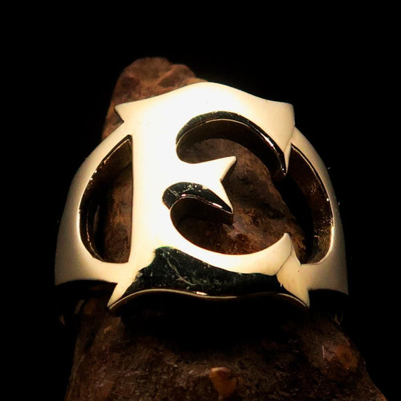 Mirror polished Men's Brass Initial Ring one bold Letter E - BikeRing4u