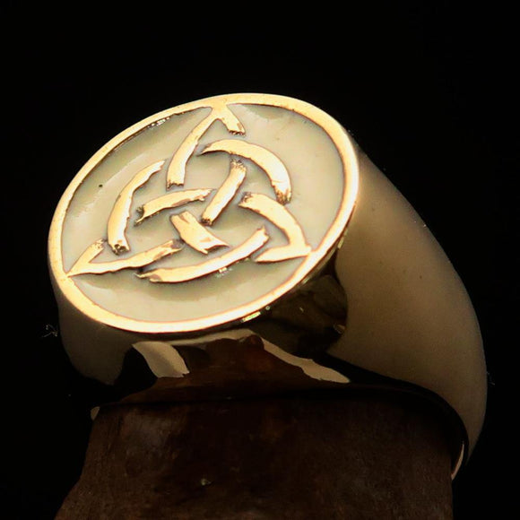 Nicely crafted Men's Triquetra Ring Celtic Triskelion Knot White - Solid Brass - BikeRing4u