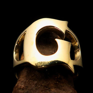 Mirror polished Men's Brass Initial Ring one bold Letter G - BikeRing4u