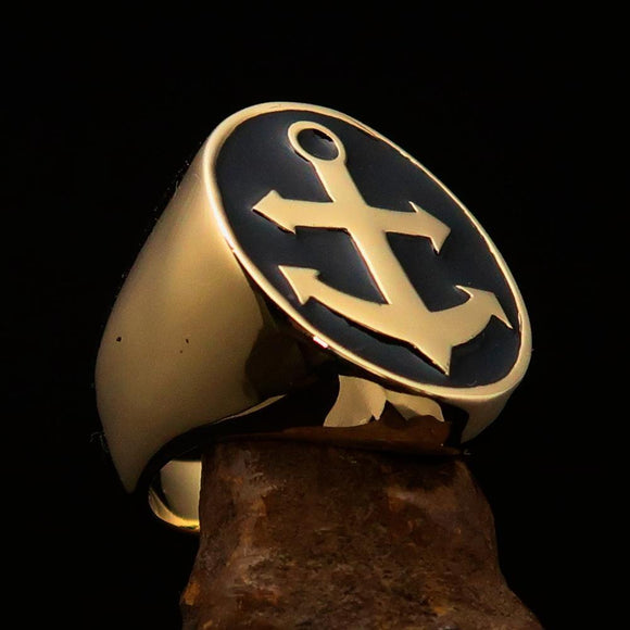 Perfectly crafted Men's Sailor Ring Big Anchor Black - Solid Brass - BikeRing4u