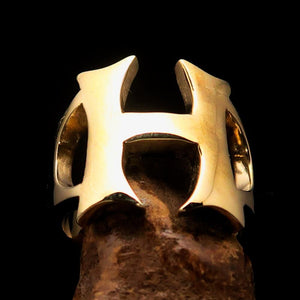 Mirror polished Men's Brass Initial Ring one bold Letter H - BikeRing4u