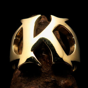 Mirror polished Men's Brass Initial Ring one bold Letter K - BikeRing4u