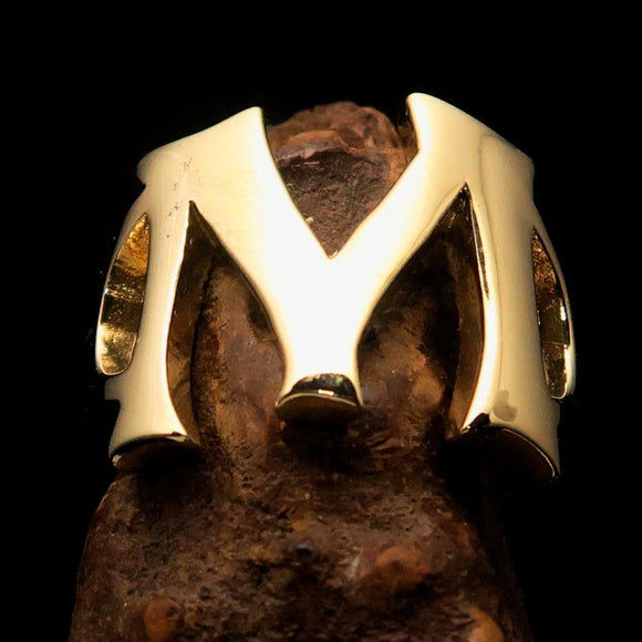 Mirror polished Men's Brass Initial Ring one bold Letter M - BikeRing4u