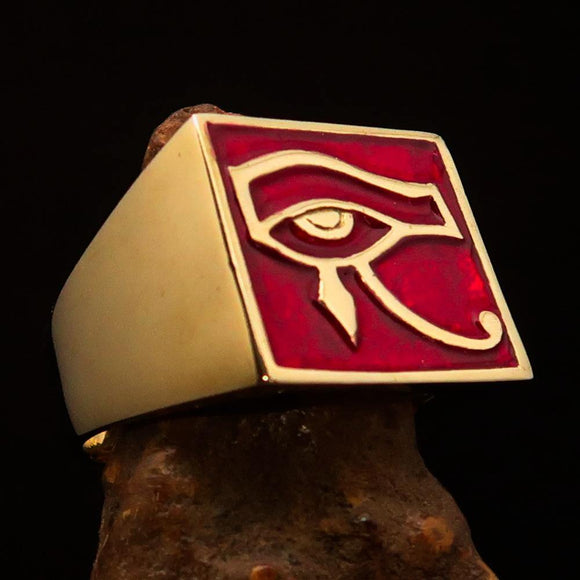 Excellent crafted Men's Ring All seeing Udjat Eye of Ra Red - Solid Brass - BikeRing4u