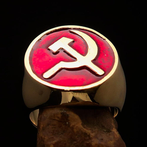 Excellent crafted Men's Socialist Ring Hammer Sickle Red - Solid Brass - BikeRing4u