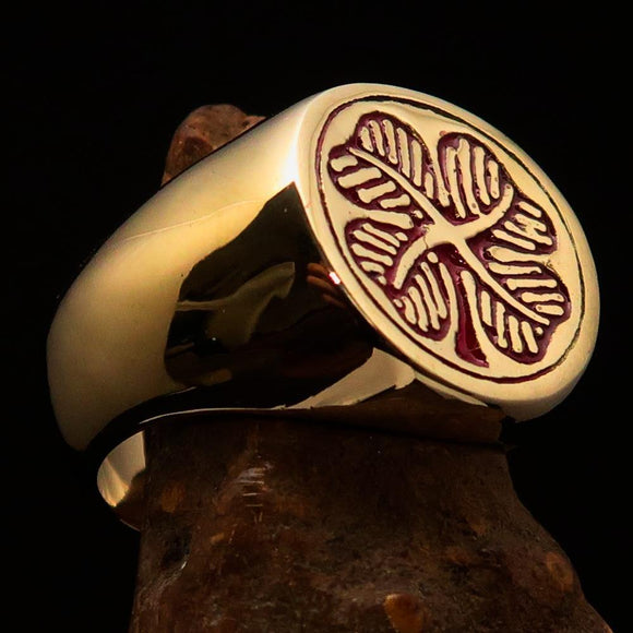 Excellent crafted Men's Signet Ring Four leaved Clover Red - Solid Brass - BikeRing4u