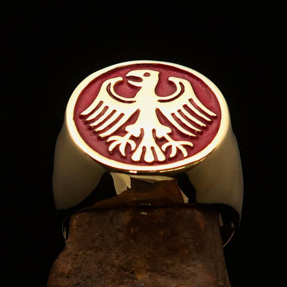 Nicely crafted Men's Seal Ring German Eagle Red - Solid Brass - BikeRing4u