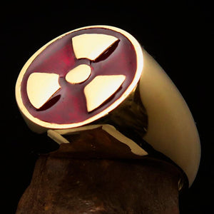 Perfectly crafted Men's Gamer Ring Radioactive Symbol Red - Solid Brass - BikeRing4u