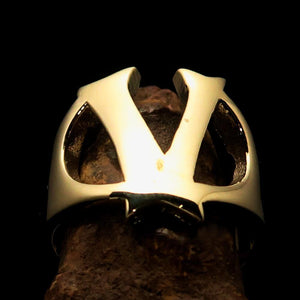 Mirror polished Men's Brass Initial Ring one bold Letter V - BikeRing4u