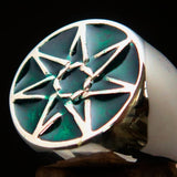 Excellent crafted Men's Heptagon Ring Green seven sided Polygon - Sterling Silver - BikeRing4u