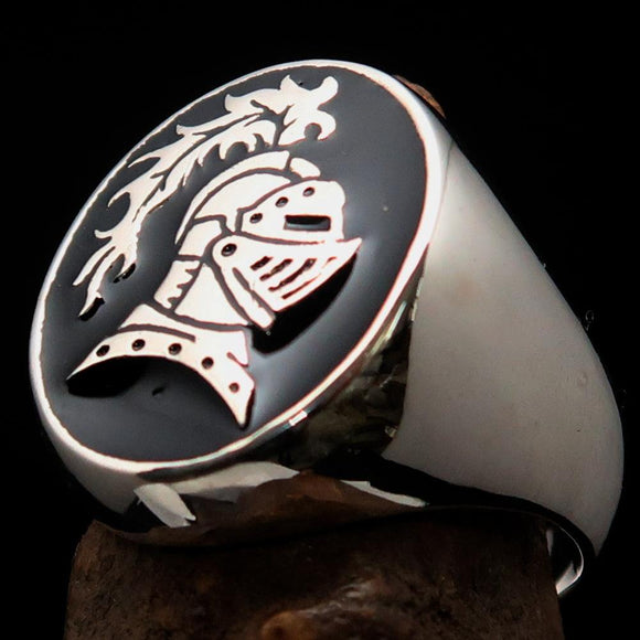 Perfectly crafted Men's Medieval Ring Brave Knight Black - Sterling Silver - BikeRing4u