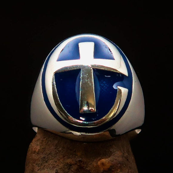 Excellent crafted Men's Ring modern blue Christian Cross - Sterling Silver - BikeRing4u