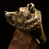 Excellent crafted Men's Brass Animal Ranger Ring detailed Grizzly Bear - BikeRing4u