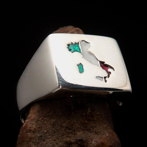 Excellent crafted Men's Italian Flag Ring Italy - Sterling Silver - BikeRing4u