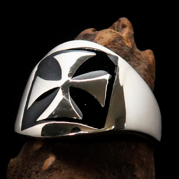 Excellent crafted Men's Iron Cross Biker Ring Black - Sterling Silver