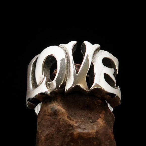 Excellent crafted One Word Love Ring - Sterling Silver - BikeRing4u