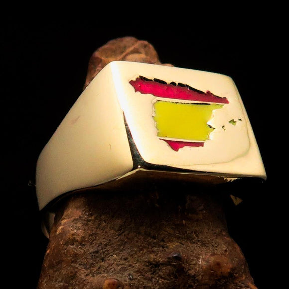 Excellent crafted Men's Spanish National Flag Ring Spain - Solid Brass - BikeRing4u