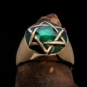 Nicely crafted Men's Hebrew Pinky Ring Green Star of David - Solid Brass - BikeRing4u