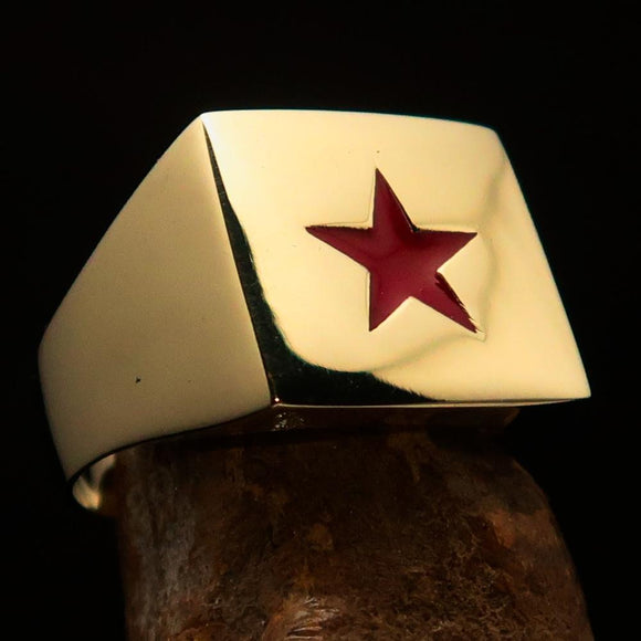 Excellent crafted Men's Communist Brass Ring Red Star Pentagram - BikeRing4u