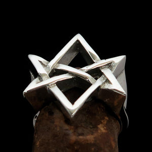 Excellent crafted Men's Aquarian Star Ring - Sterling Silver - BikeRing4u