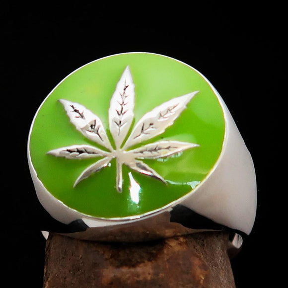 Sterling Silver Men's Ring Marihuana Cannabis Leaf in Green - BikeRing4u