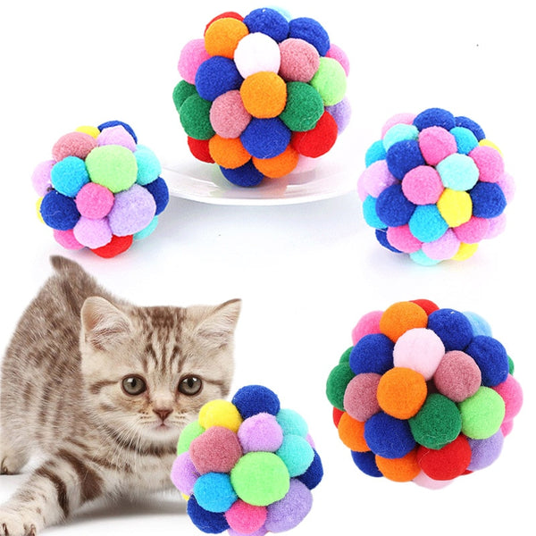 1PC Popular 2018 New Pet Interactive Toy Hot Sale Cat Toy Pet Supplies High Quality Bells Bouncy Ball Colorful Handmade