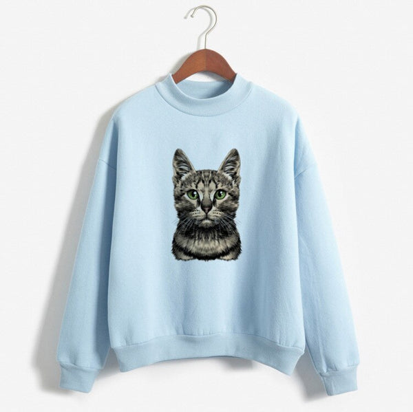 2019 Women Sweatshirts Hoodies Cats Printed Casual Pullover Cute Top Long Sleeve O-Neck Fleece Tops M-XXL Harajuku Hoodies White