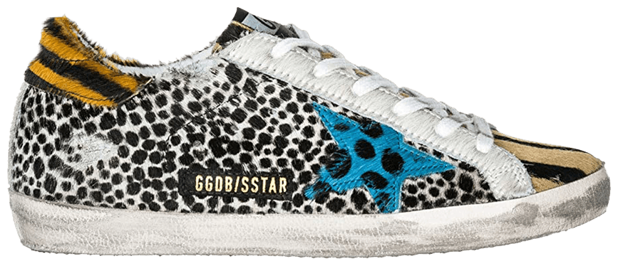 Golden Goose sneakers superstar animal print blue horsy patch